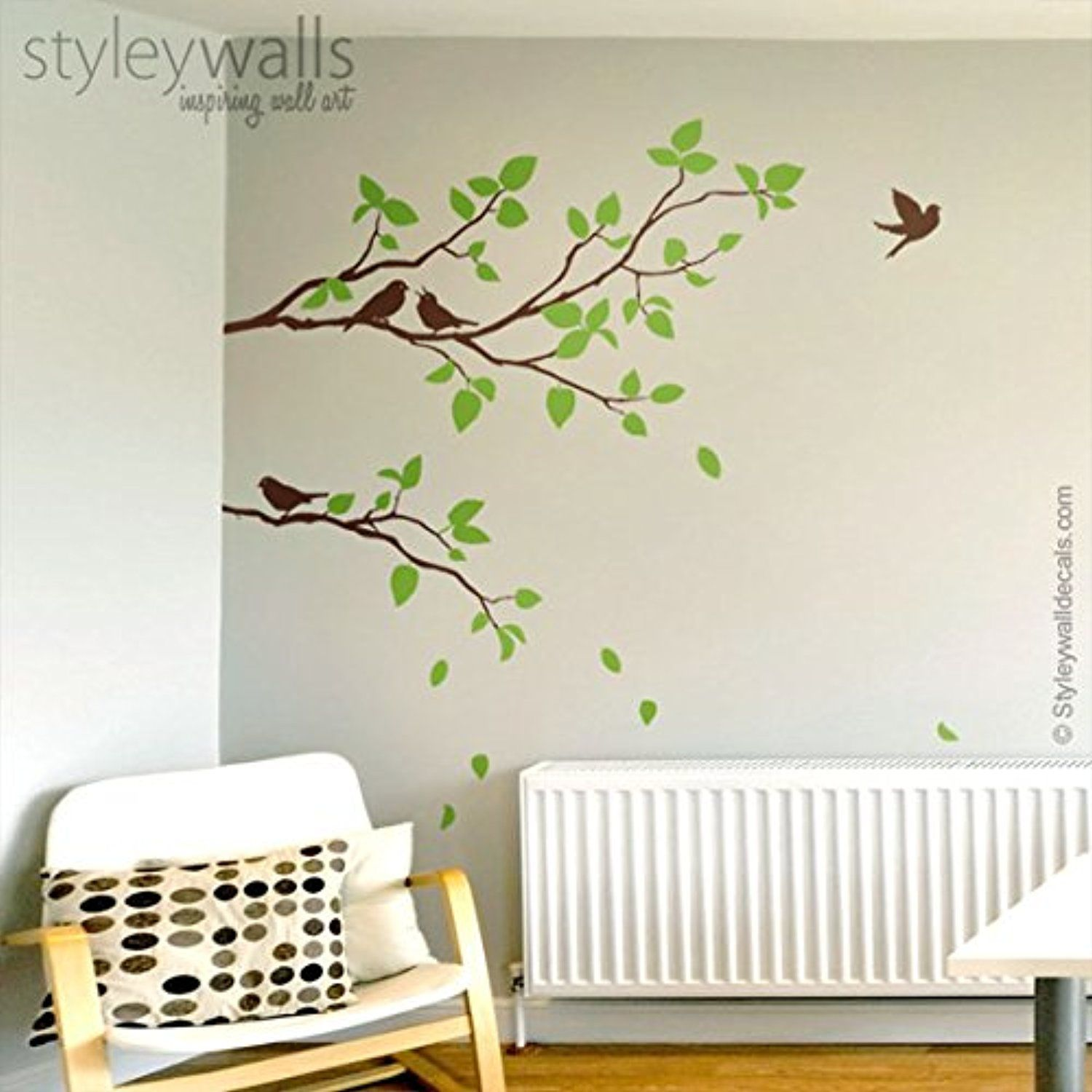 Two spring branches wall decal branches with birds wall decal for two spring branches wall decal branches with birds wall decal for home living room decor amipublicfo Image collections