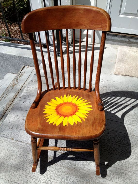 Whimsical children's rocking chair hand painted with ...