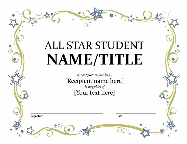 All Star Student Certificate Templates Office Certificate