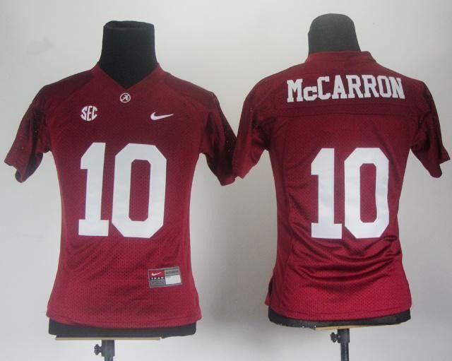Women Alabama Crimson Tide 10 AJ McCarron Red College Football ...