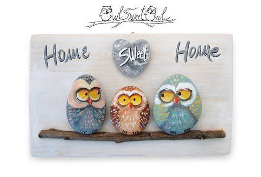 Unico fatto a mano 'Home Sweet Home' gufi pittura di owlsweetowl