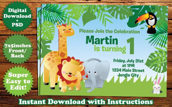 INSTANT DOWNLOAD Safari Animals Birthday Invitation Template #1 - invitation download template