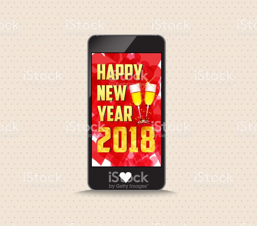 Happy New Year 2018 With Glasses Phone Greeting Card Vector Art