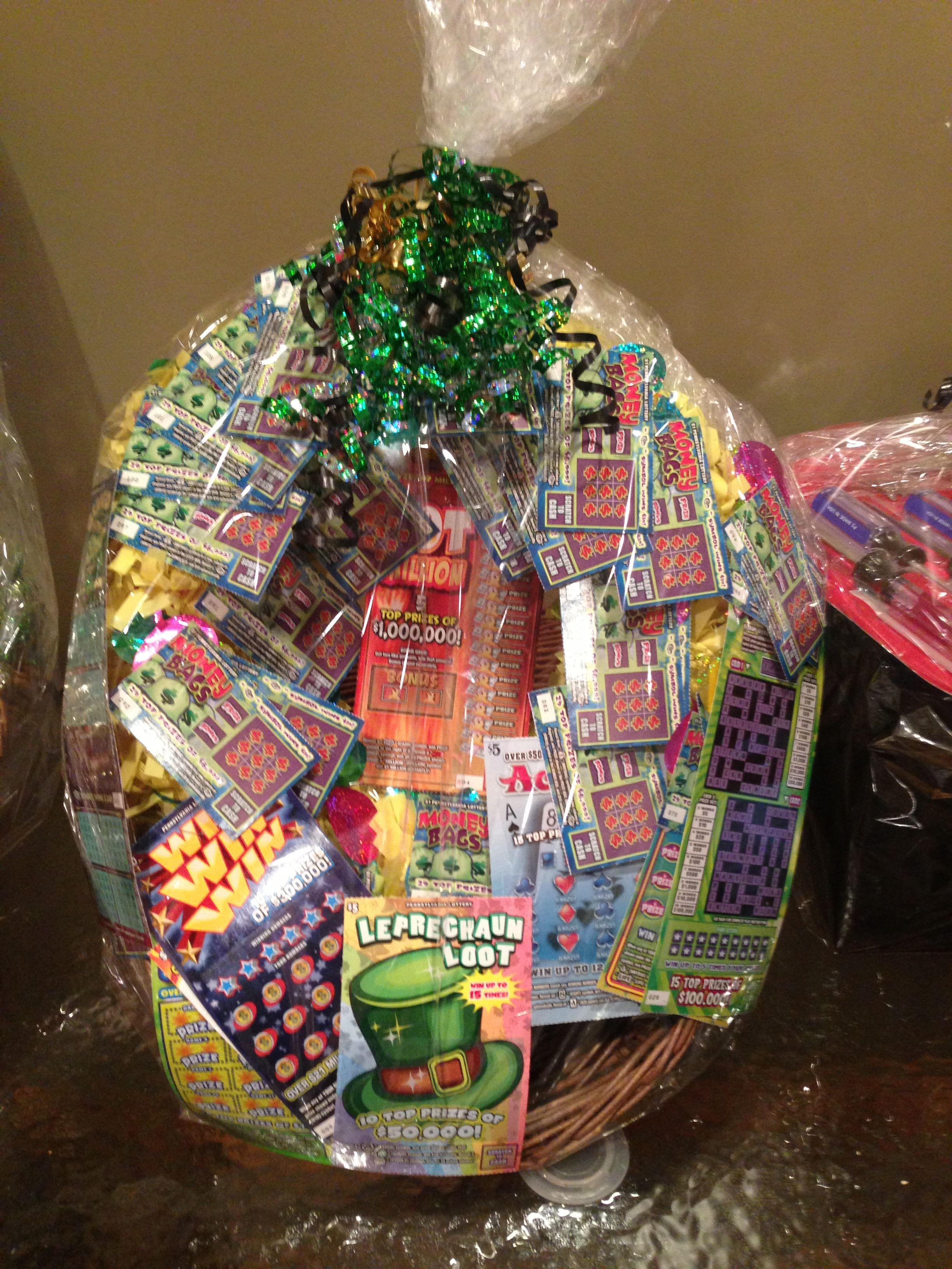 Lottery basket | Baskets of cheer | Pinterest | Gift ...