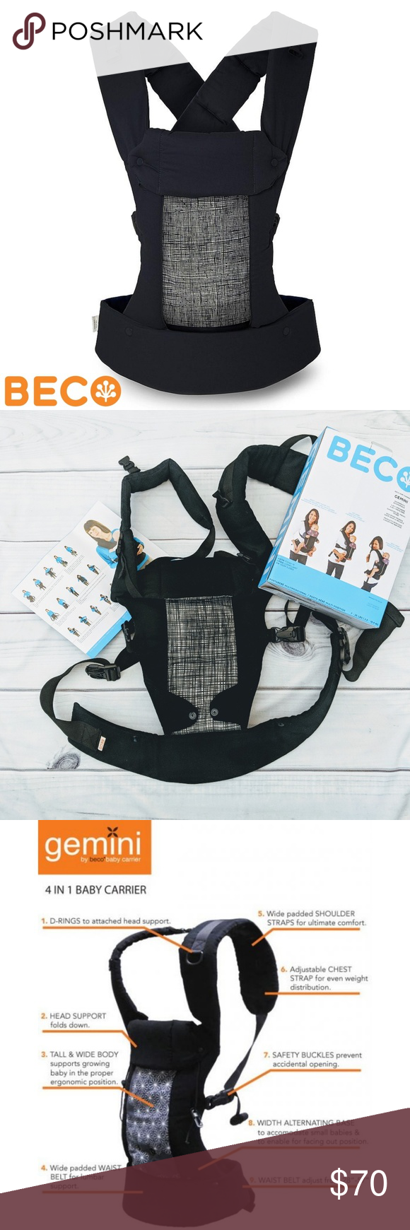 192eb80e00d Beco Gemini 4-in-1 Baby Carrier 7-35 lbs. Scribble Gently used ...