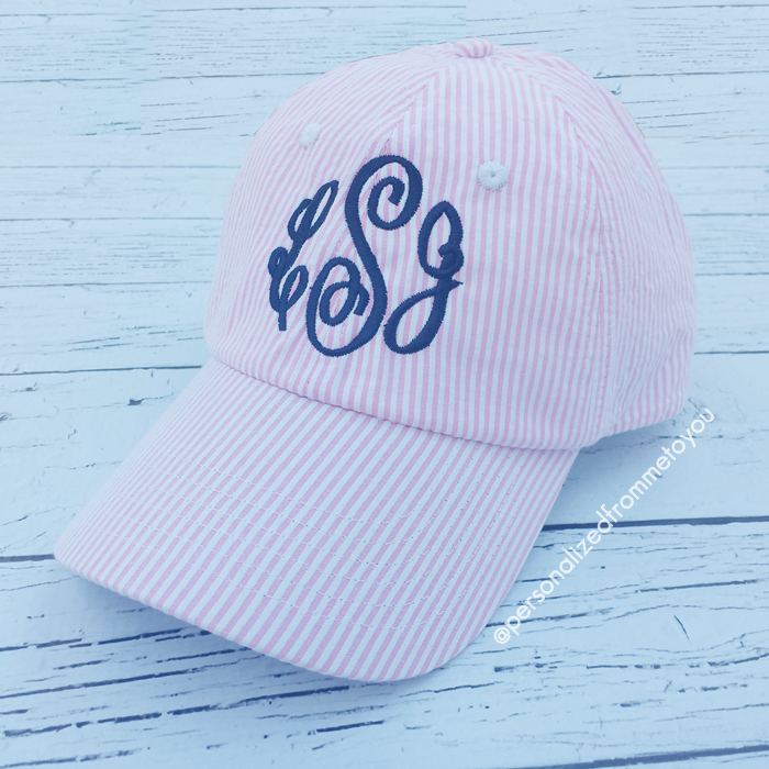 Monogrammed Seersucker Hat Baseball Cap Personalized