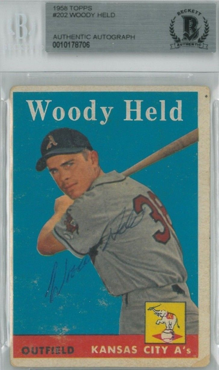 1958 topps woodie held autograph baseball cards