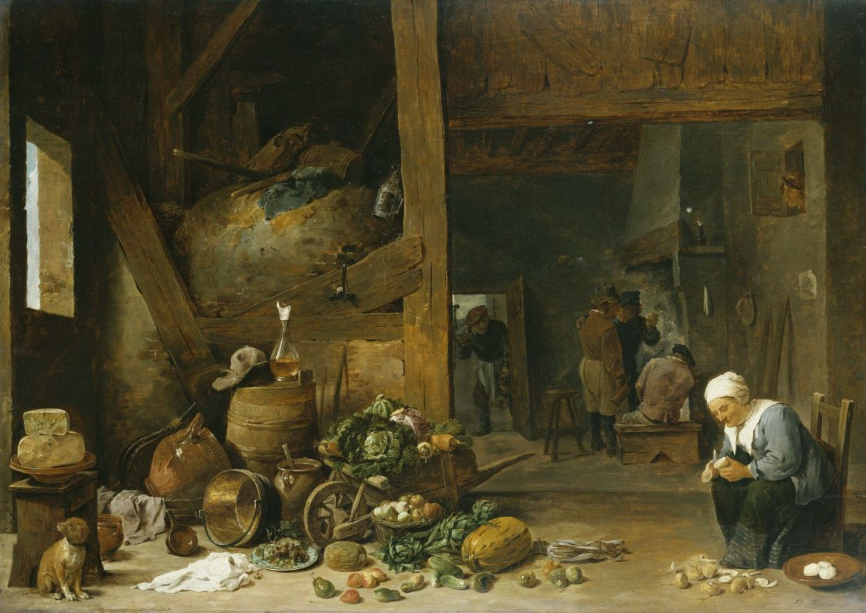 the interior of a kitchen with an old woman peeling turnips david