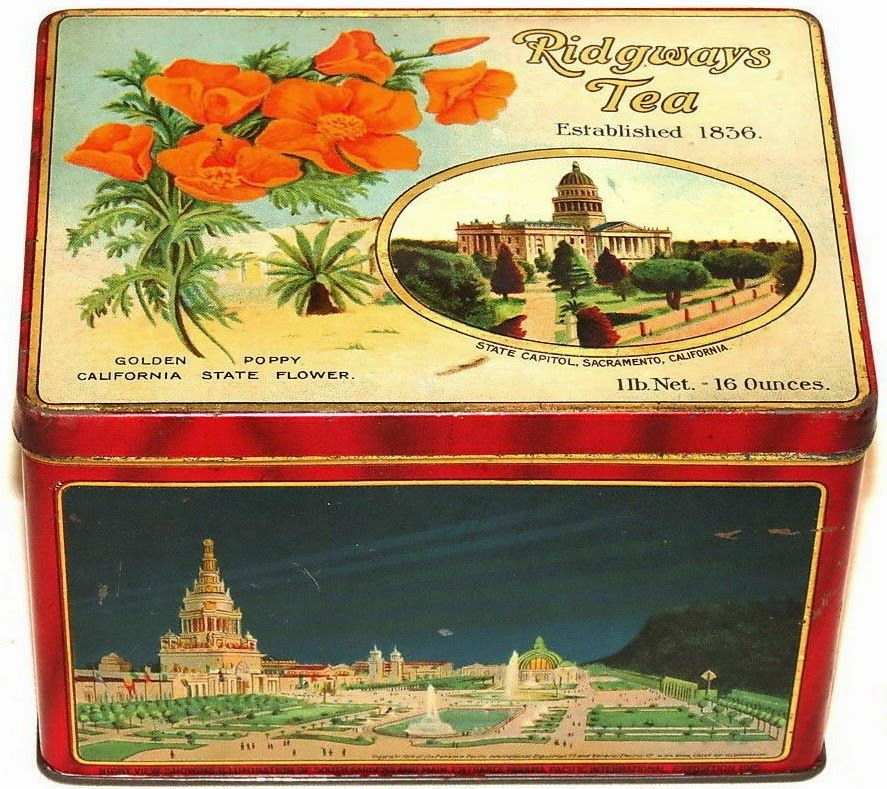 Ridgways Tea Souvenir Tea Tin From 1915 Panama Pacific International Exposition World S Fair Held San Francisco Decorated With Cali Tea Tins Tea Container Tin