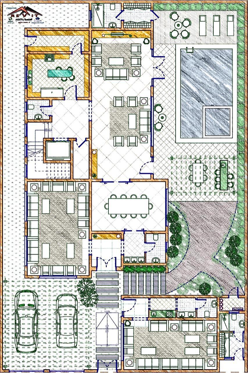 تصميم فيلا على الطراز السعودي في الليث Twitter Egyrevit House Floor Design Pool House Plans Family House Plans
