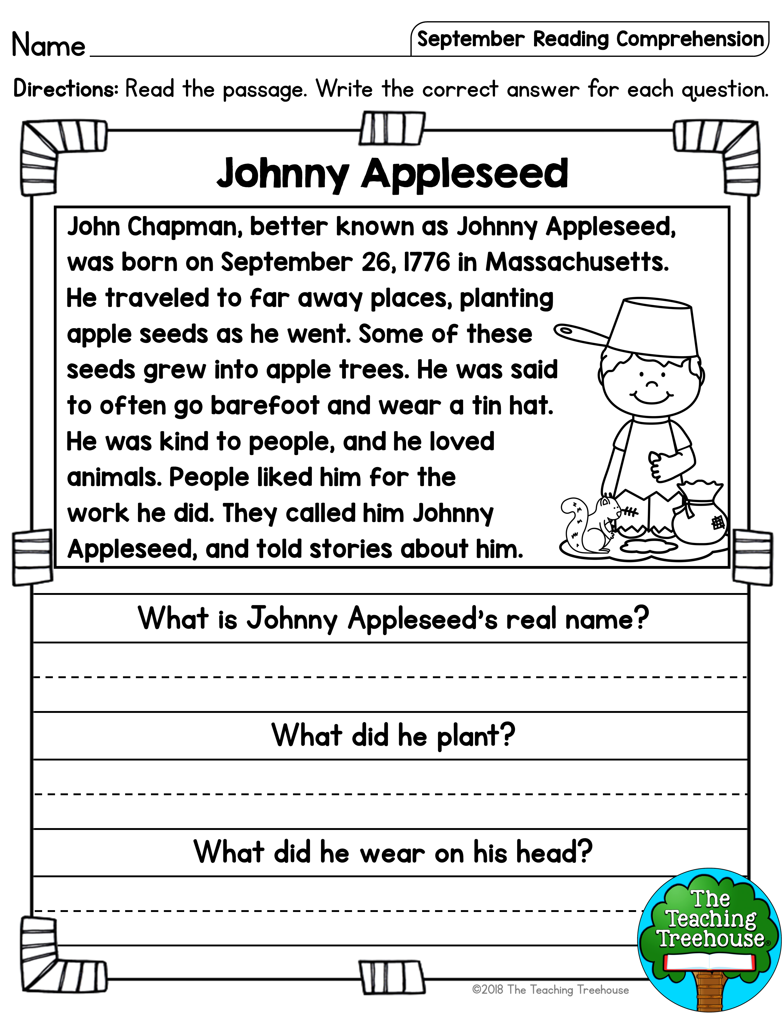 - September Reading Comprehension Passages For Kindergarten And
