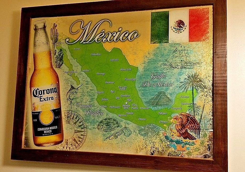 Corona Extra Beer Bar Mirror Sign Framed Authentic Mexican States ...