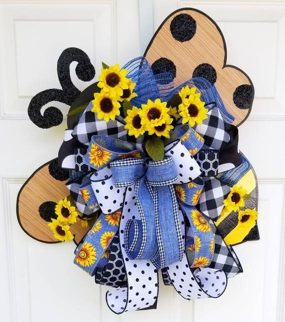 Photo of Bee Door Hanger, Bumblebee Wreath, Spring decor, Sunflower wreath, Front door wreath, front porch su