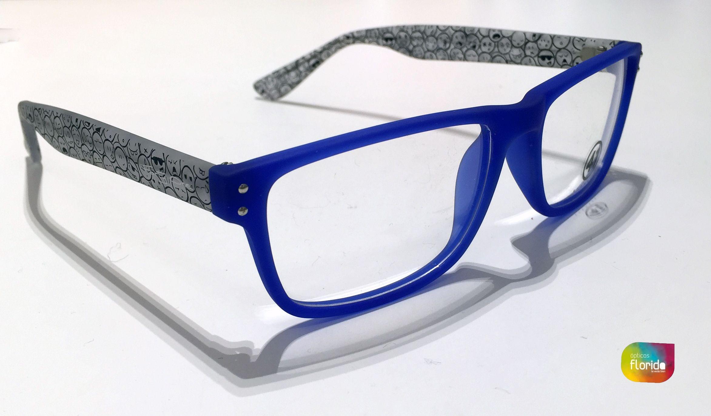 Gafas graduadas para  hombre. Color  azul con pestañas diseño  emoticonos 7d161f3c0226