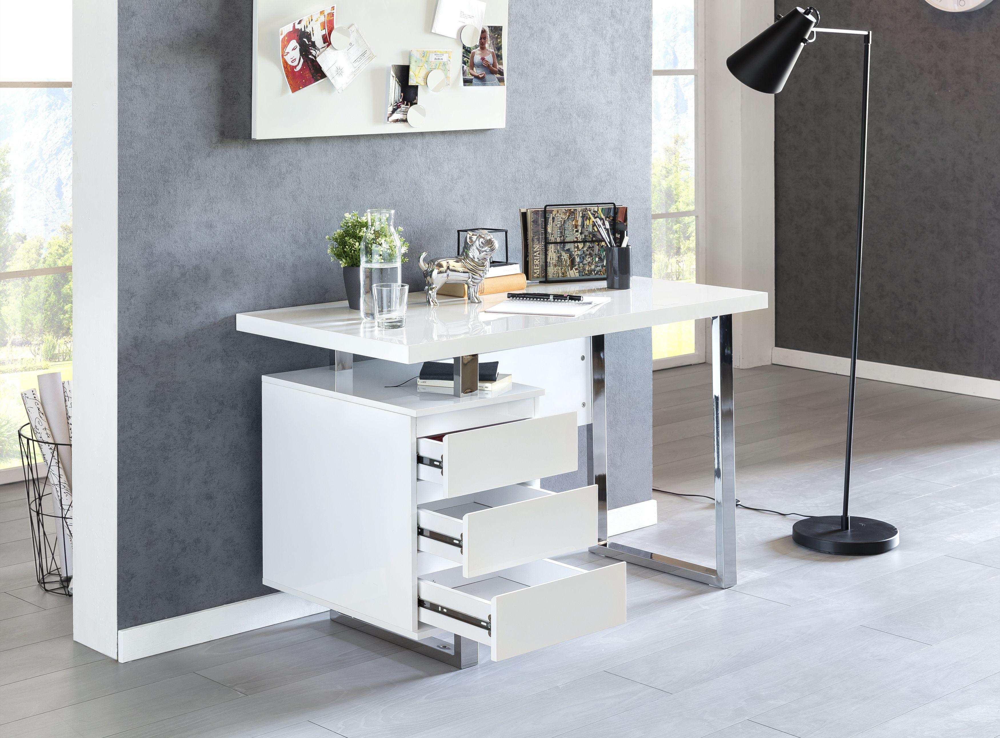 Wohnling Schreibtisch Patty Weiss Hochglanz Wl5 528 Aus Mdf Und