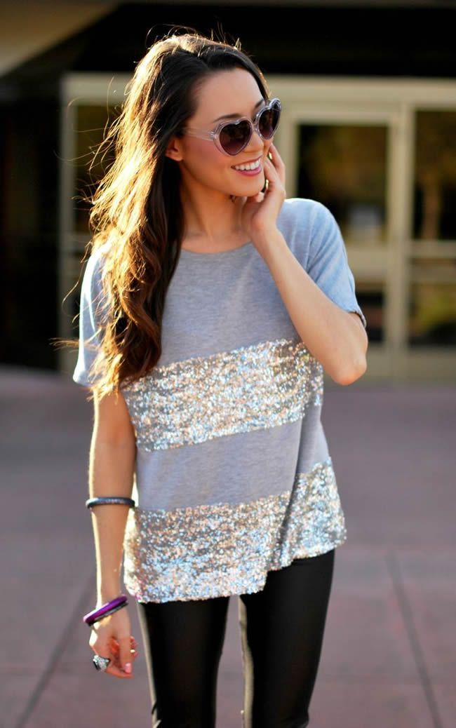 Sequin Striped Tee - DesignerzCentral