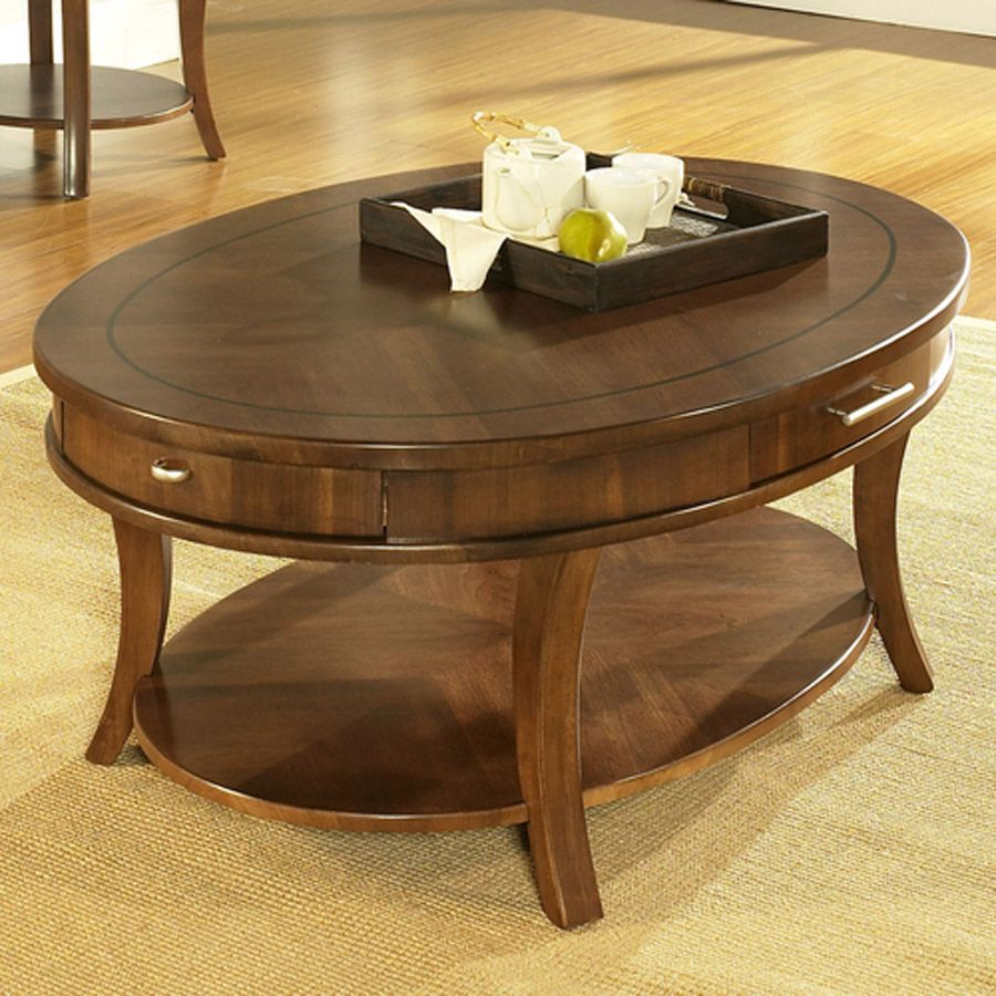 oval wooden coffee table with tiny