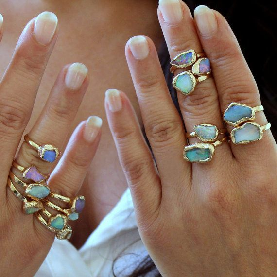 Raw Opal Ring Opal Jewelry Rough Stone Ring Stacking Rings Stackable Gemstone Ring Opal Womens Ring Rough Opal Ring Gift For Her  Raw opal ring raw stone ring gift for he...
