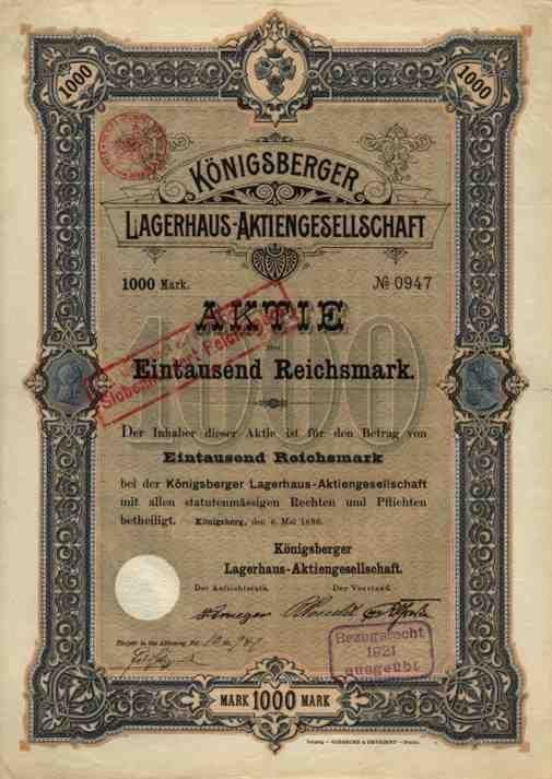 Königsberg Lagerhaus Ostpreussen Kaliningrad 1896