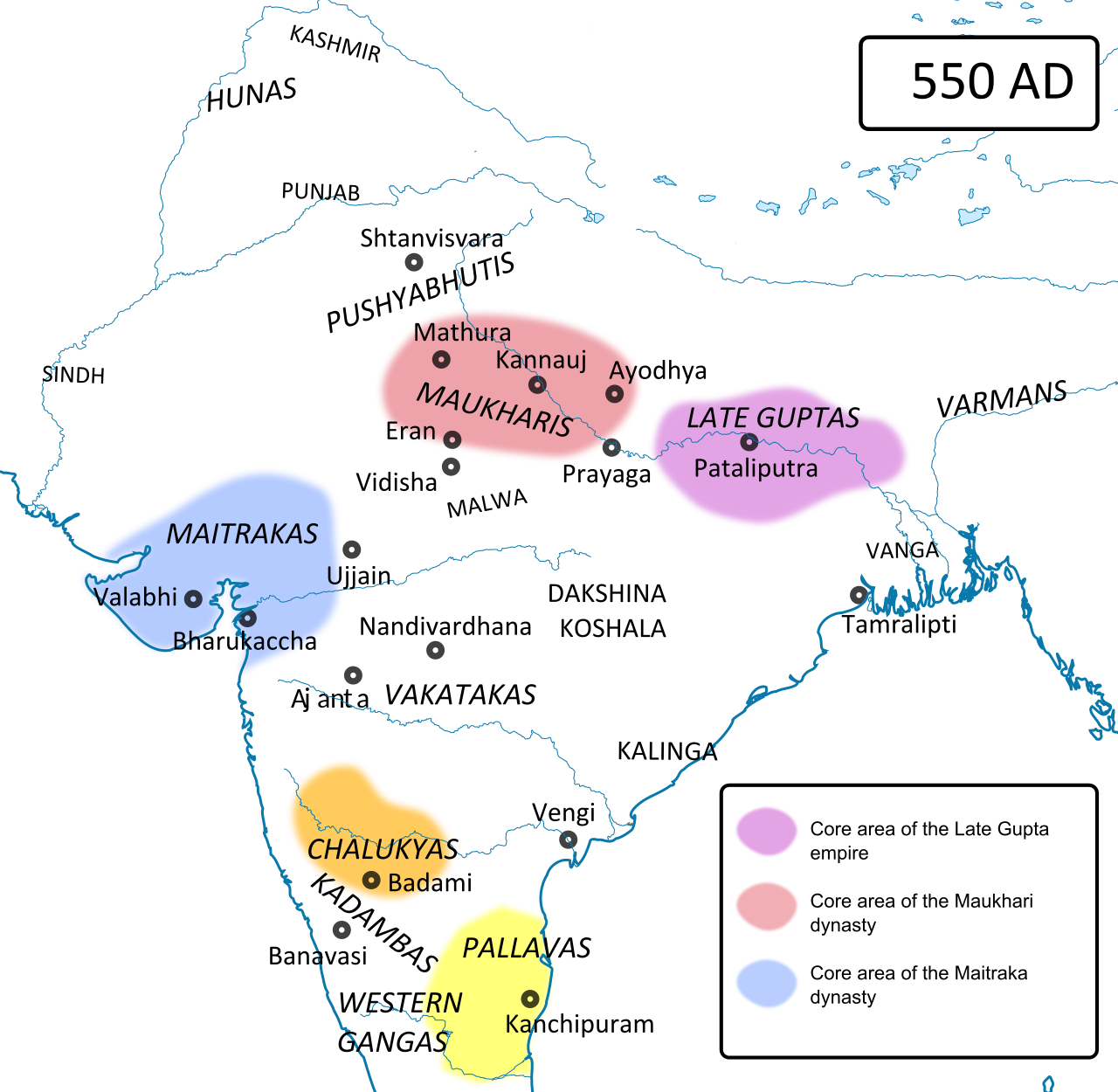Political Map Of India Around 550 Ad Just After The Collapse Of The Imperial Power Of The Guptas The Hunas Hephtal In 2020 Political Map India Map Ancient India Map