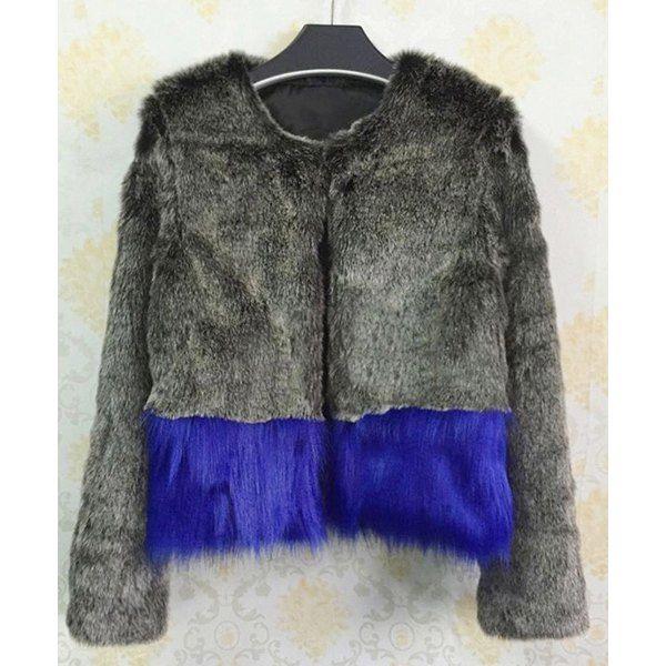 Stylish Faux Fur Long Sleeve Color Block Coat For Women #jewelry, #women, #men, #hats, #watches