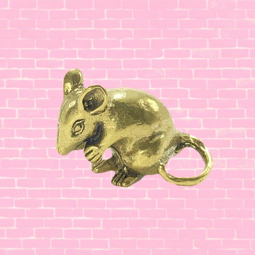 Miniature Baby Rat Mouse Brass Figurine Statue Tiny Metal Art Zodiac Feng shui