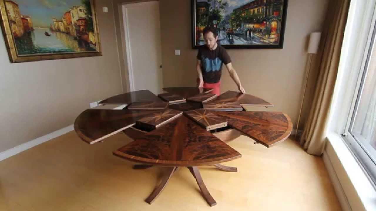 Runde Tische, Balkon, Runder Esstisch, Walnussholz Esstisch, Esstisch, Erweiterbarer  Tisch,