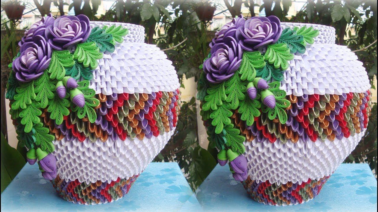 How To Make 3d Origami Flower Vase V6 Diy Paper Flower Vase