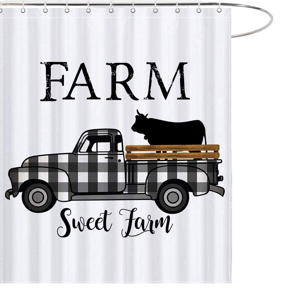 black white farmhouse shower curtain
