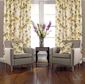 Lovely Room · Green And Cream Livingroom Curtains ...