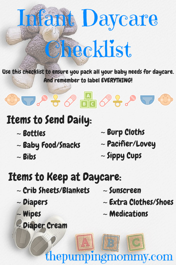 Infant Daycare Checklist What To Pack And Label Infant Daycare Daycare Checklist Starting A Daycare