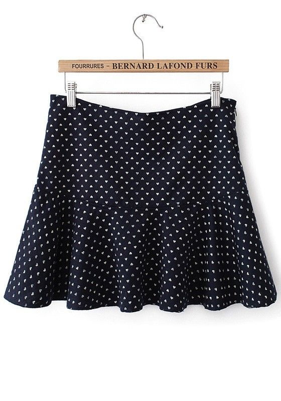 Navy Blue Patchwork Mid Waist Cotton Blend Skirt