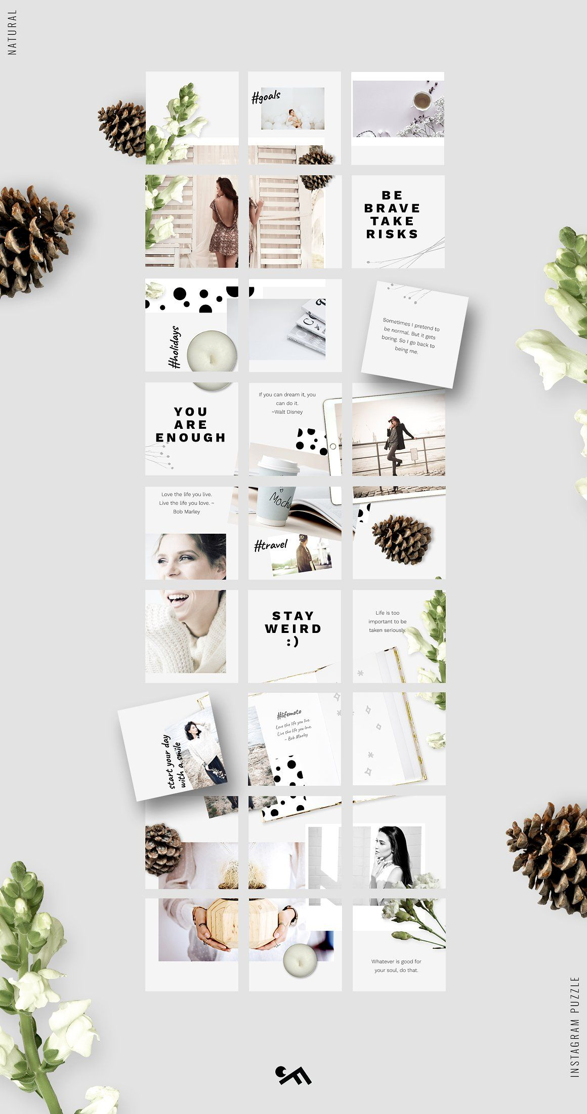 Instagram PUZZLE template Natural by CreativeFolks on