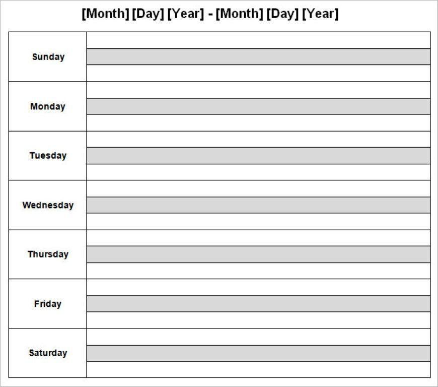 Weekly Calendar Template #weeklyplanner #calendars #template