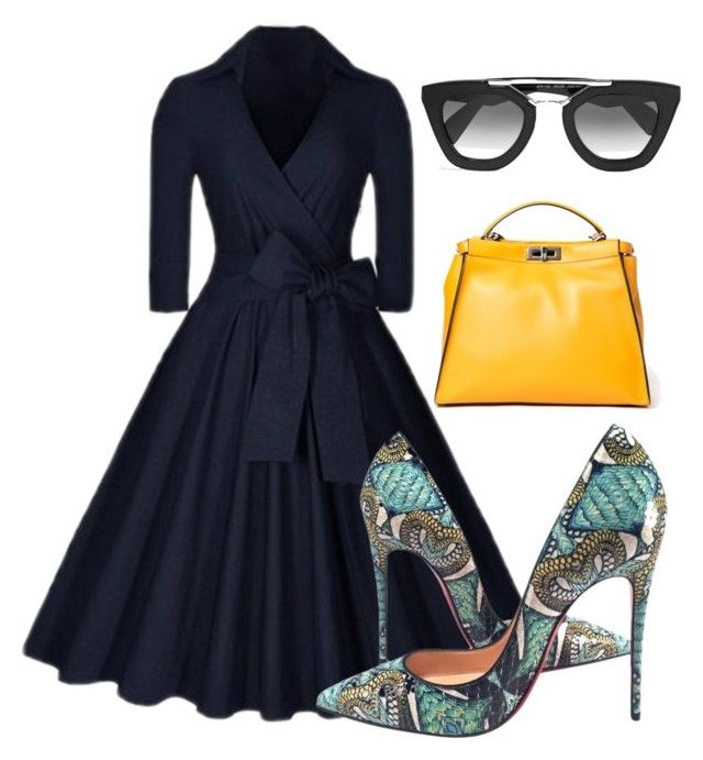 """""""I love vintage clothing!! This is such a modern twist on the 50's look!!"""" by scheli-broaddus-jones on Polyvore featuring Christian Louboutin, Prada, Fendi, modern and vintage"""