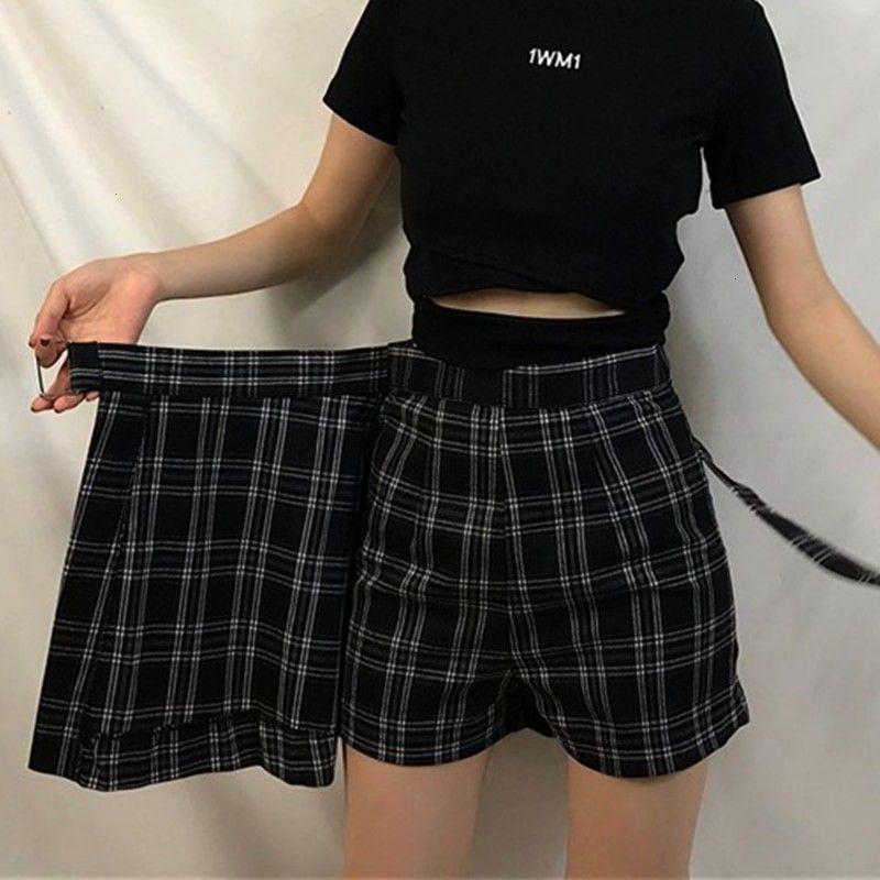 $9.1 30% OFF|ELEXS Summer Skirt Women High Waist Plaid A Line Skirt Casual Fashion Kawaii Student S