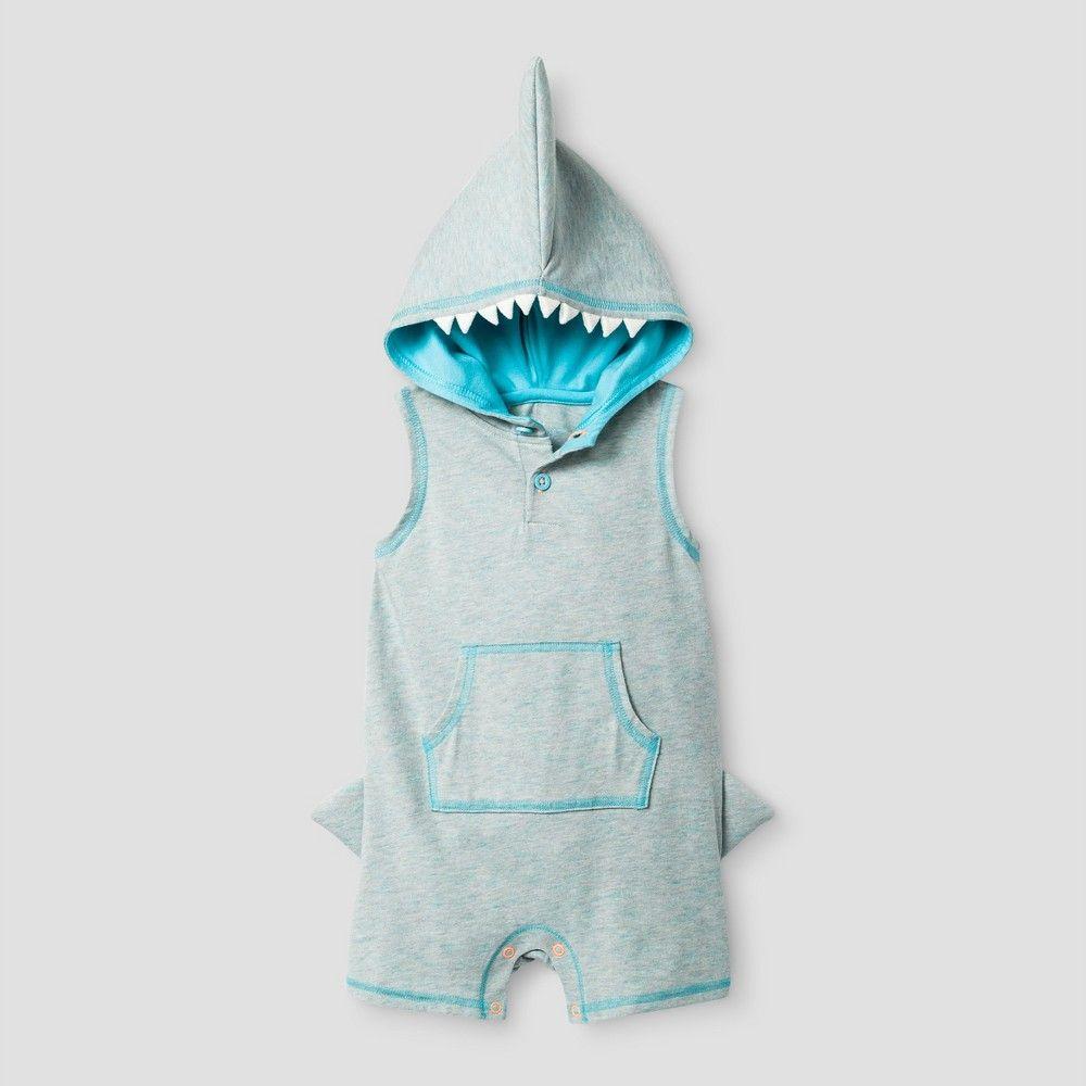76ddaa87199a Baby Boys  Shark Short Romper with Hood Cat   Jack - Heather Grey 6 ...
