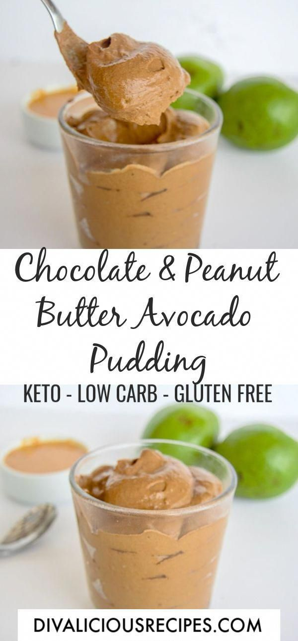 A rich and creamy chocolate peanut butter pudding with avocado makes a delicious low carb and glute