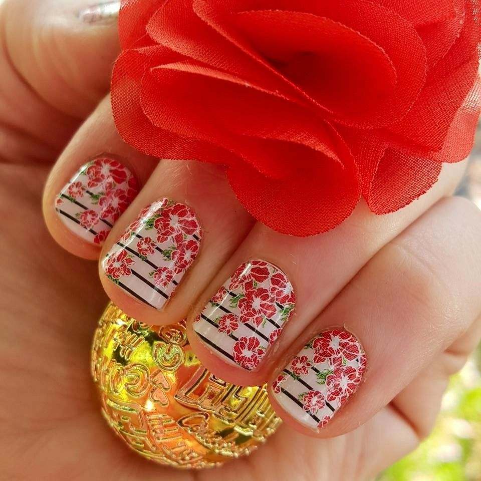 May Flowers (May SSE) layered over Country Club. Jamberry Nail Wraps ...