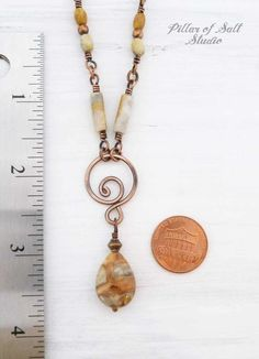 Photo of Crazy Lace Agate & Copper Wire Wrapped Necklace