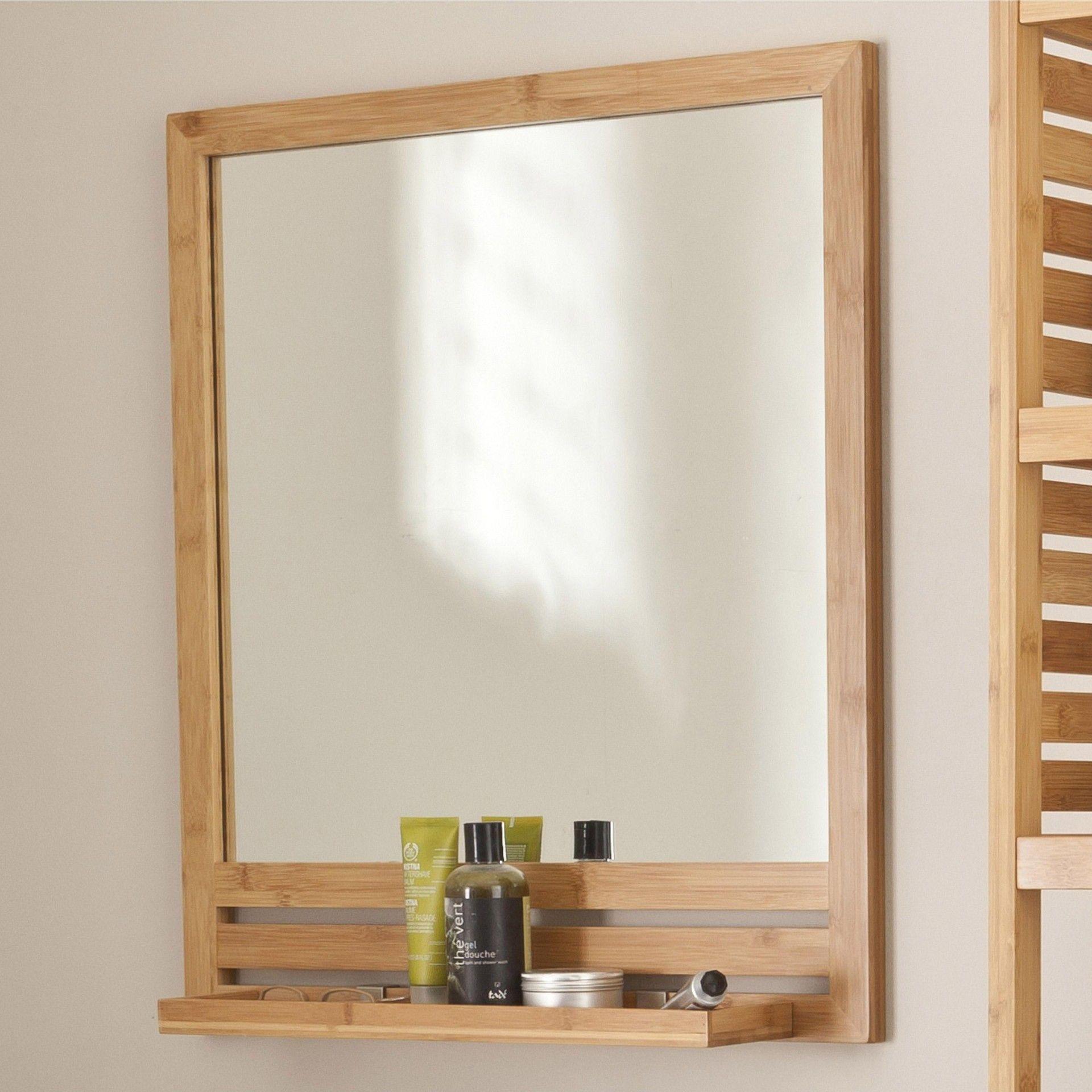 Miroir avec tablette bambou, l. 19.19 cm Natural  Leroy Merlin