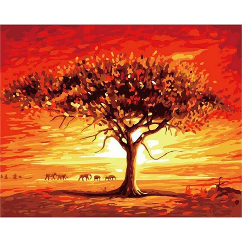 Malen Nach Zahlen Akazienbaum In Safari Malen Nach Zahlen