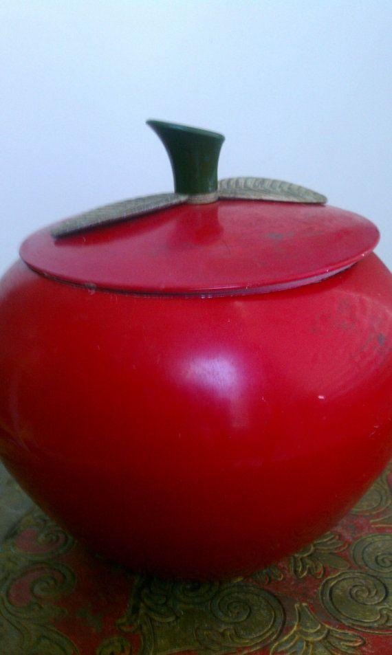 "Vintage Cookie Jars For Sale Vintage Apple Cookie Jar Metal Rustic Can ""sale Price""  Cookie Jars"