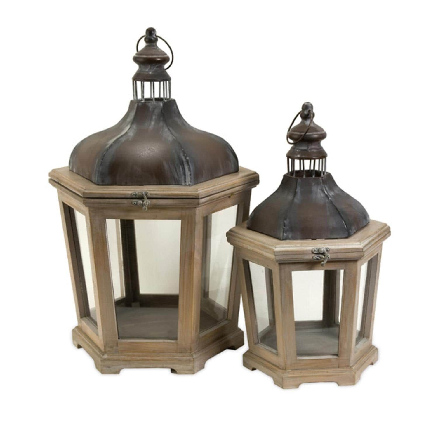 Set of whitewashed wood pillar candle lanterns with aged metal