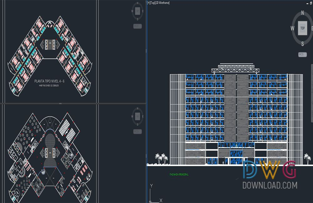 5 Stars Hotel Plan Projects Dwg 5 Star Hotel Architectural Plan Drawings Floor Plan Drawings Are Drawn In Detail In Autocad Dw Arsitektur Hotel Autocad Hotel