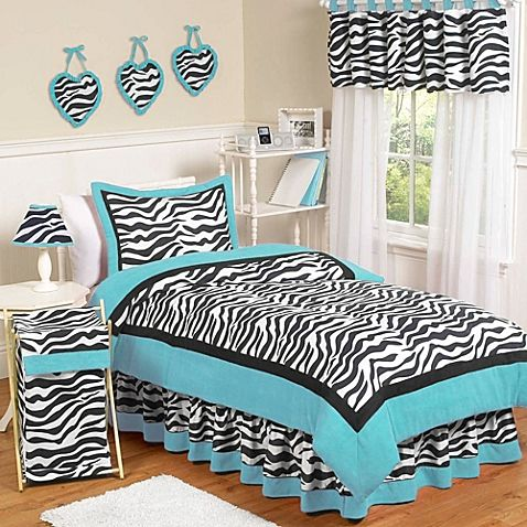Sweet Jojo Designs Funky Zebra Bedding Collection in Turquoise