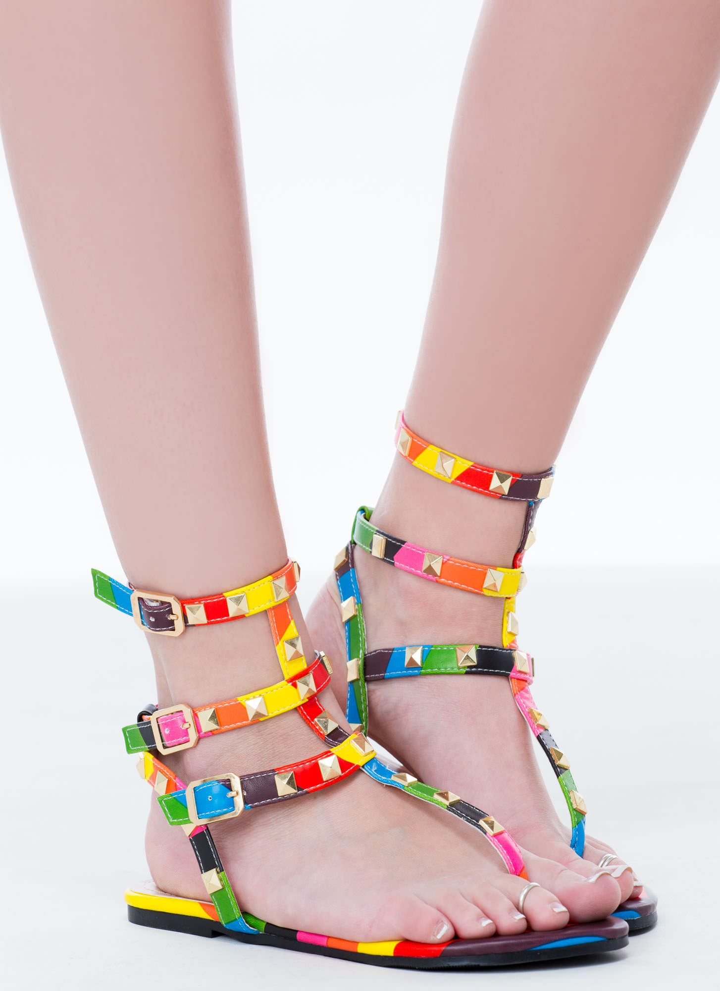 702c8b02c6f8 Rainbow Connection Studded Sandals