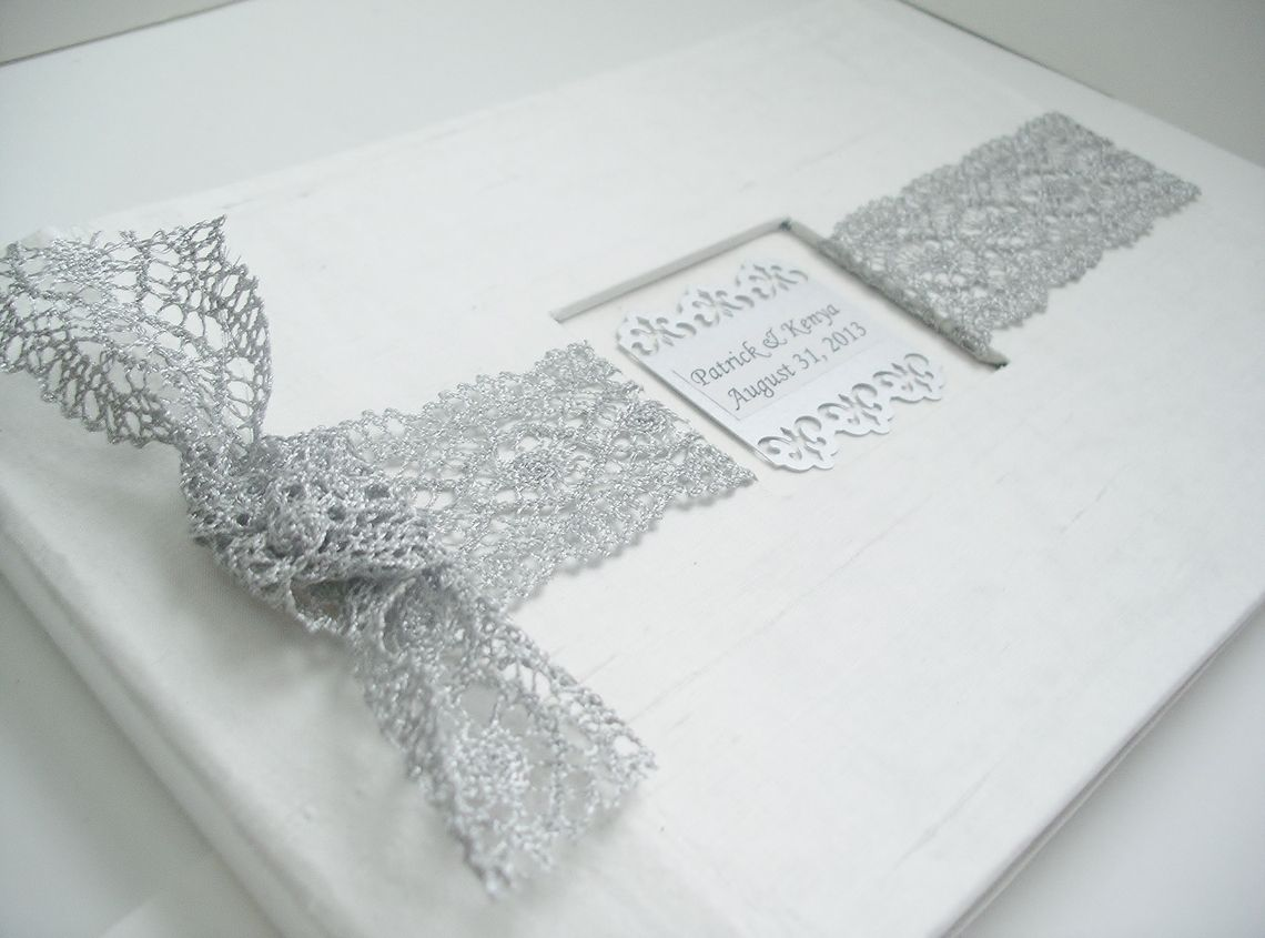 Wedding Guest Book/Photo Album w/Silver French Lace (Custom Colors Available), $80.0