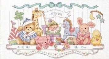 "16""X9"" Toy Shelf Birth Record Counted Cross Stitch Kit 3729 by Dimensions, http://www.amazon.com/dp/B00YQ5IFVG/ref=cm_sw_r_pi_awdm_QU8Xvb0KRPZEG"