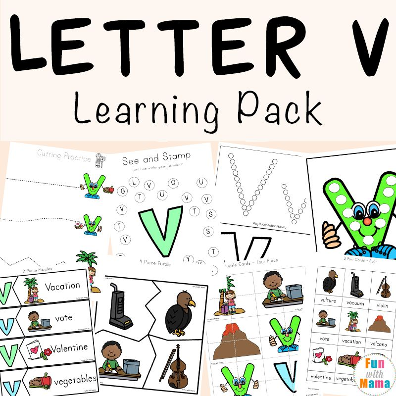 Letter V Worksheets for Preschool + Kindergarten Letter